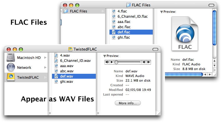 FLAC files appear as WAV files